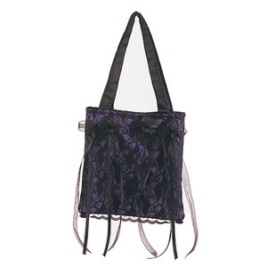 Demonia Purple Satin/Black Lace Overlay Handbag