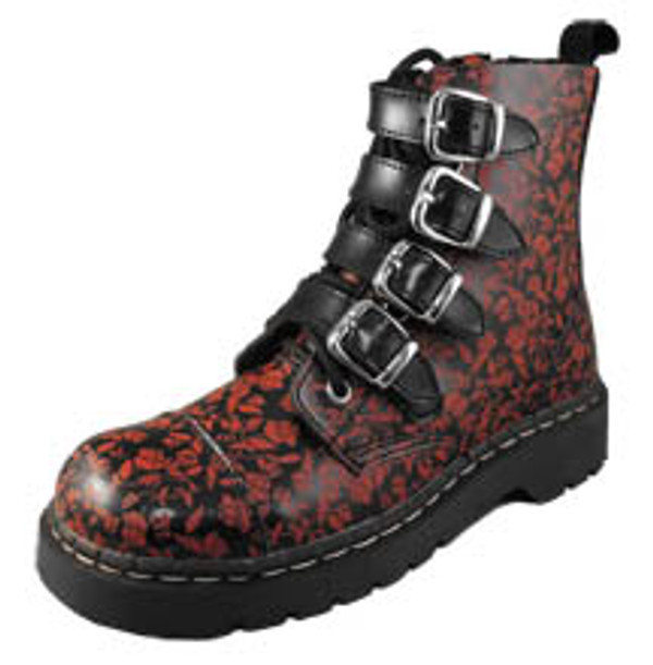 T.U.K. Red Flower Buckle Boot