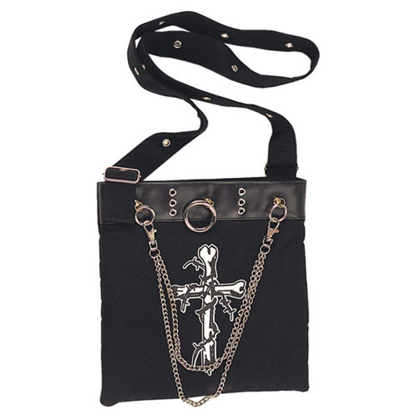 Demonia Black Canvas with Crossbones Shoulder Bag