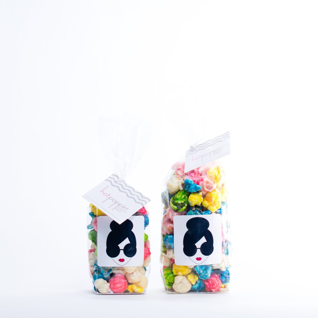 MINI BAG ON LEFT (1 CUP) | SMALL BAG ON RIGHT (1.5 CUPS)  The Alice + Olivia STACEFACE Customized Mini Hotpoppin Bag was created for an event for Stacey Bendet!
