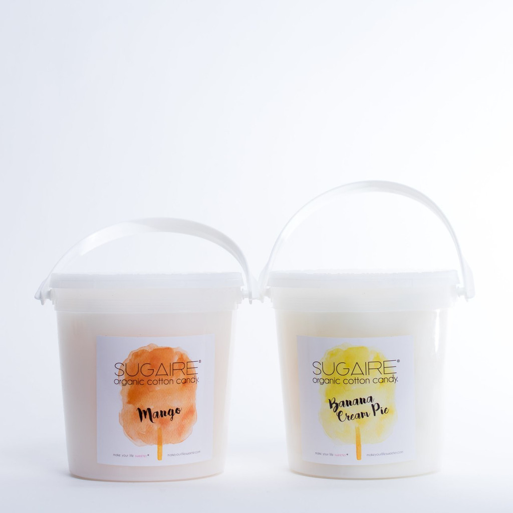 The Sweet Bucket is a 32 oz container with a handle and a tamper-evident seal to ensure freshness.   All Sugaire Flavors are made with:  USDA CERTIFIED ORGANIC COTTON CANDY MADE WITH ORGANIC CANE SUGAR  ORGANIC FLAVORING  ORGANIC, PLANT-BASED COLORS  GLUTEN-FREE, HALAL, VEGAN & KOSHER Note: Some of our toppings are not kosher, organic, all-natural, gluten-free, or vegan.  Please let us know if you would like to omit any of these ingredients from your order.