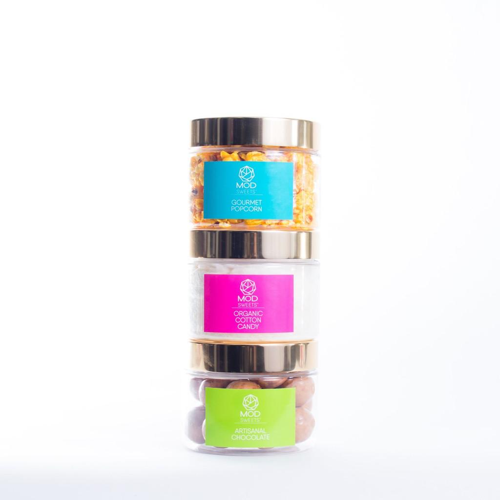 ModSweets™ Keepsake Box |  Cotton Candy, Popcorn & Chocolate | 1 Cup Each | Size: 12 oz.