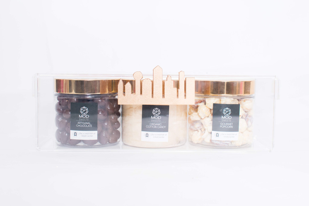 Custom Modsweets gifts with two gourmet popcorn and one cotton candy Modsweets 12oz jars.