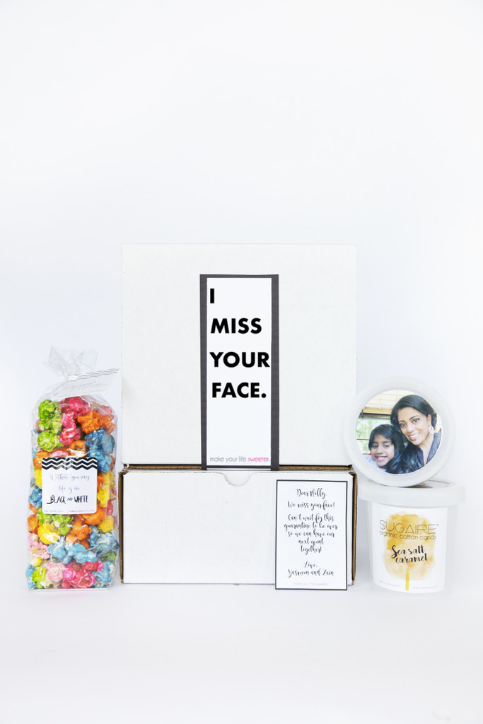 I Miss Your Face gift box | Sweet treats for combatting quarantine!  Upload your selfie (or your family's selfie) and we will customize this gift box to be shipped out to your favorite peeps! Includes a 4 cup bag of our gourmet popcorn and ONE pint of our Organic Cotton Candy