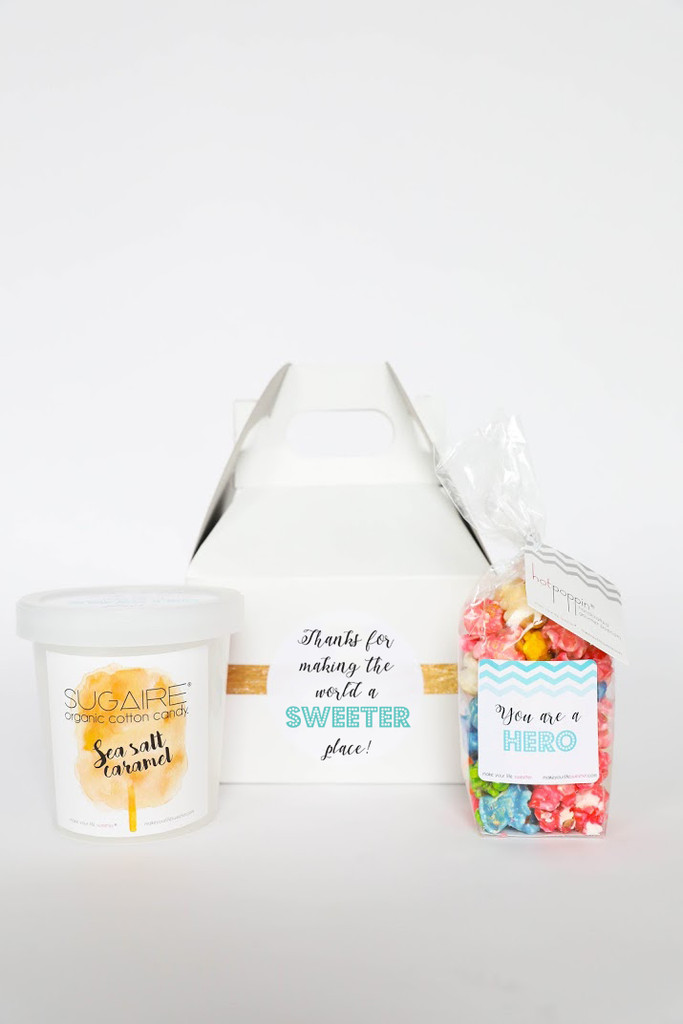 """Do you know someone who is battling on the frontlines of the Corona Virus and would love to show them how thankful you are for them? Make Your Life Sweeter®️ has created the """"YOU'RE MY HERO"""" gift box to make it easy to show how much you care, and makes their hard days a little sweeter! The box includes two Make Your Life Sweeter®️ treats and is the perfect gift to let your friends and family who are going above and beyond know that you appreciate them!  #youreahero #cabinfever #quarantine #coronavirus #coronavirusgift #getwellsoongift"""