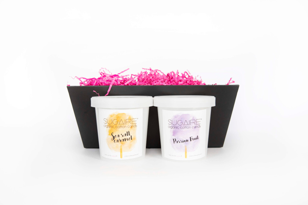 You're My Hero Gift Box comes with assorted Sugaire Organic Cotton Candy.