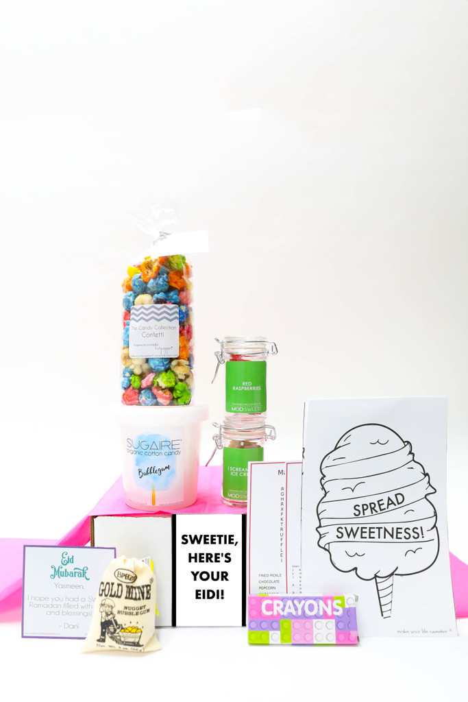 Sweets & treats for your favorite little ones. Eid Celebration. Organic Cotton Candy, popcorn & gummies.
