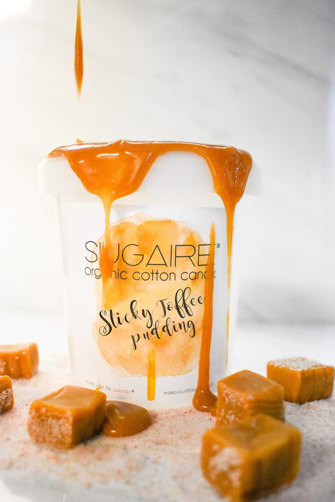 (Marketing photo of the Sticky Toffee Pudding) A tower of our Sugaire Organic Cotton Candy is PERFECT for party favors as your guests walk out!  Individually, these make the SWEETEST place settings too!  Organic Cane Sugar | Dye-Free | Natural, Plant-Based Colors | Halal, Vegan & Kosher | Gluten-Free