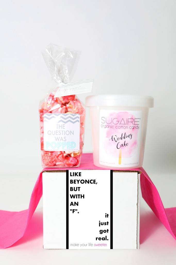 """Engagement box  - """"Like Beyonce, but with an F"""" - 2 Sweet treats"""