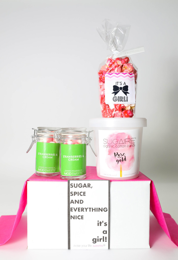 "Baby Announcement  - ""SUGAR, SPICE & EVERYTHING NICE... IT'S A GIRL!"" - 4 Sweet treats"