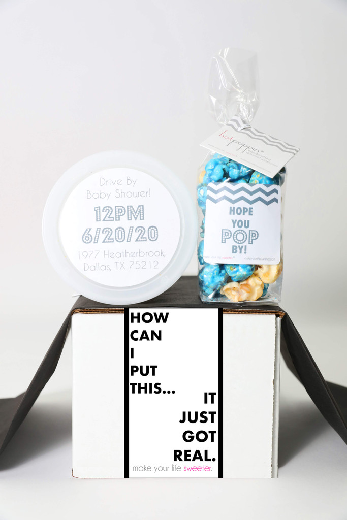 "Baby Shower Invitation Gift  - ""IT JUST GOT REAL"" - 2 Sweet treats"