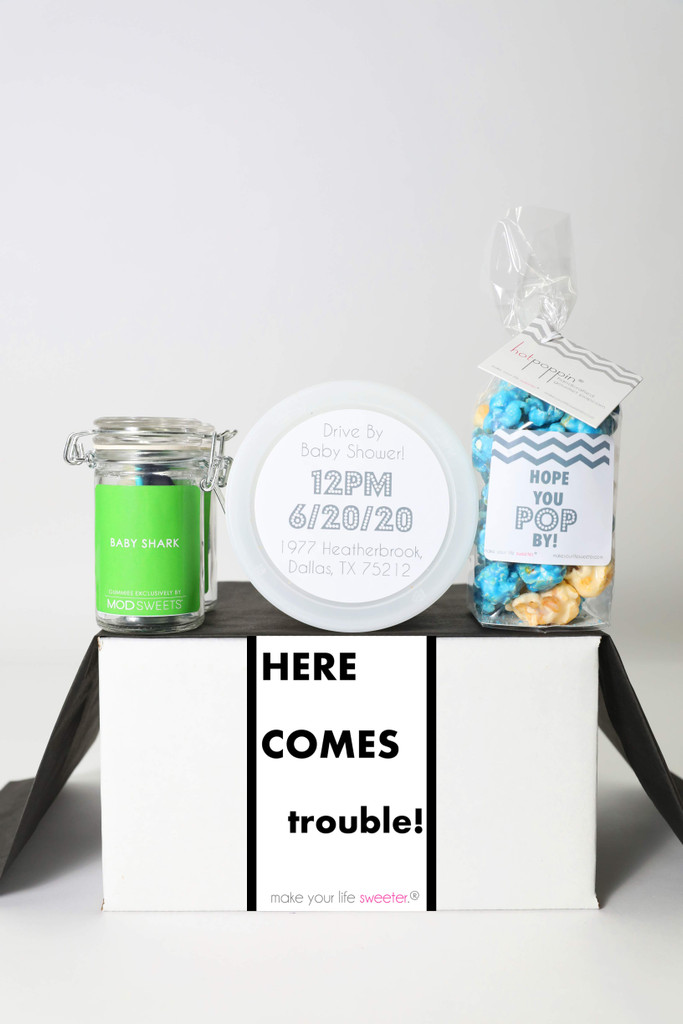 "Baby Shower Invitation Gift  - ""Here Comes Trouble"" - 4 Sweet treats"