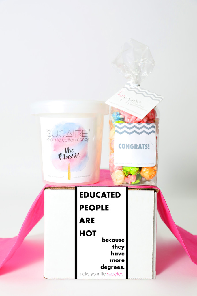 """Graduation Gift - """"EDUCATED PEOPLE ARE HOT"""" - 2 Sweet treats"""
