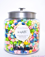 OUR DIY HOTPOPPIN GOURMET POPCORN BAR SHIPS DIRECTLY TO YOU WITH EVERYTHING THAT YOU NEED TO MAKE YOUR EVENT A LITTLE SWEETER!   THE SHIPMENT WILL INCLUDE: - 1 LARGE GLASS JARS - CUSTOMIZED WITH LOGO  - 1 FLAVORS OF OUR TOP SELLERS ASSORTMENT OF GOURMET POPCORN  - SERVING MATERIALS: 1 SCOOPS, 50 SERVING CONES,  1 FLAVOR LABEL
