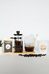 """Want to have a coffee date with you friend - VIRTUALLY? Make Your Life Sweeter® has created the """"POUR OVER COFFEE COTTON CANDY INFUSION"""" gift set to make your quarantine sweeter! This is the perfect gift to let your friends and family - for a sweet virtual afternoon coffee date. The box includes- 1 French Press, 1 Glass Coffee Cup,1 bamboo stand,1 Sugaire Organic Cotton Candy Pint in our Creme Brulee Cheesecake Flavor, 1 Paper Straw, and 1 bag of coffee."""
