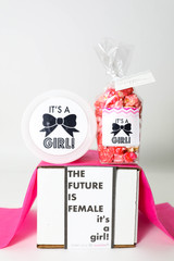 "Baby Announcement  - ""THE FUTURE IS FEMALE... IT'S A GIRL!"" - 2 Sweet treats"