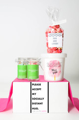 "Just Because Gift - ""PLEASE ACCEPT MY SOCIALLY DISTANT HUG"" - 4 Sweet treats"