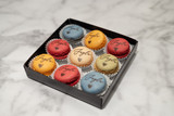 BOX OF 9 | **PRINTED** Le Mod Gourmet French Mini Macarons | IN-STORE PICKUP ONLY.