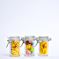 Our Mini Mason with our Hotpoppin Gourmet Popcorn is the perfect party favor for someone who wants a tiny bit of sweetness to give to their guests.  The Jar is 3 inches tall and fits about 6-8 kernals of indulgent Hotpoppin Popcorn.