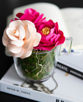 SWEET BLOOMS: THE TEA PARTY MAKE YOUR LIFE SWEETER X QUTE BLOOMS come together for an exclusive line of handcrafted  paper flower arrangements that can be shipped worldwide.  This stunning  arrangement comes with 3 paper flowers in a glass tea cup.
