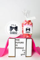 """Baby Announcement  - """"THE FUTURE IS FEMALE... IT'S A GIRL!"""" - 2 Sweet treats"""