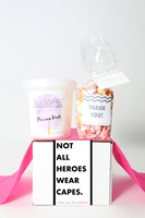 """Hero Gift - """"NOT ALL HEROES WEAR CAPES"""" - 2 Sweet treats"""