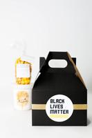 BLACK LIVES MATTER GIFT BOX  6x4x4 Gable Box 1 Sugaire Organic Cotton Candy - 16oz pint - SEA SALT CARAMEL 1 Hotpoppin Gourmet Popcorn - 1 cup bag - BETTER THAN CHICAGO - INDULGENT CARAMEL & SHARP CHEDDAR