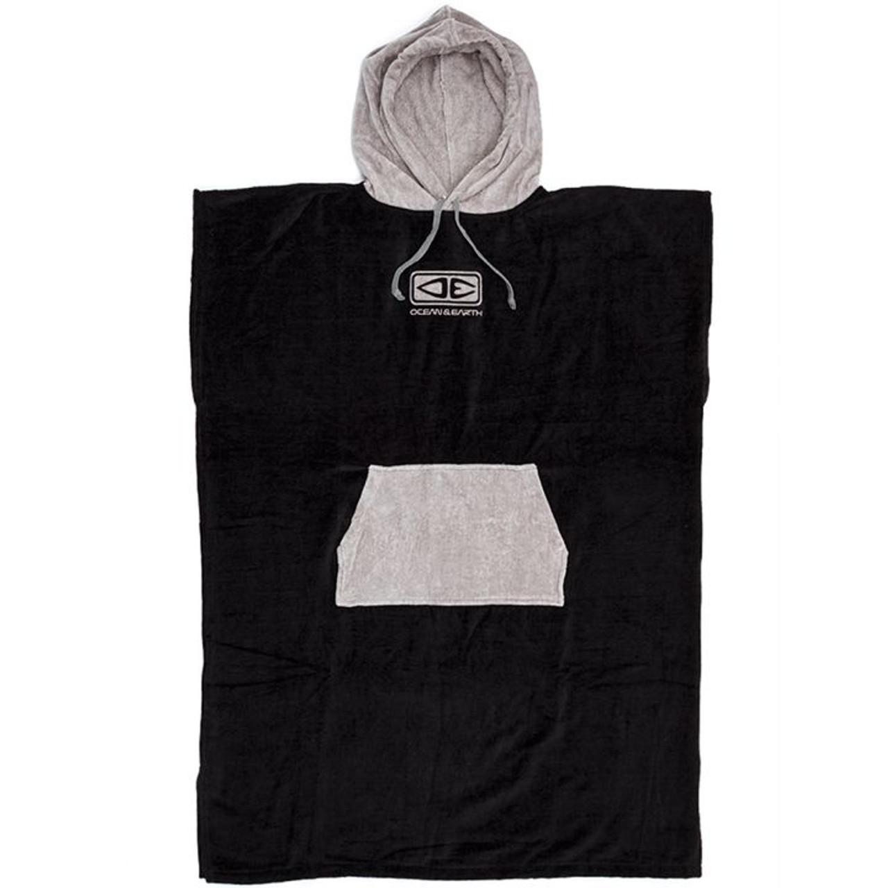 Ocean and Earth Men's Daybreak Hooded Towel Poncho   Black/Grey
