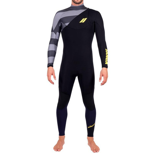 Indigent 2 Steamer | Black with Grey Stripes | LARGE Mens | Full Surfing Wetsuit 4/3mm | JANGA in Australia | Special Release | 1 Available