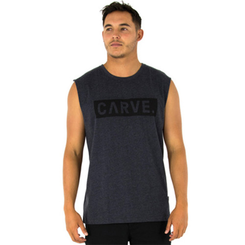 Grey Guns Out Muscle Tank Shirt   Carve   Singlet   Clothing   Surf Wear   Beach Gear   Casual Apparel For Surfers