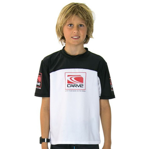Kids Fortune Rashie | Rash Vest | Surf Shirt | Carve | White | Relax Loose Fit | Surf Wear | Beach Gear | T-Shirt For Surfing | Grom | Youth