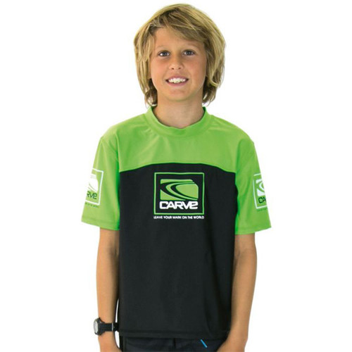Kids Fortune Rashie | Rash Vest | Surf Shirt | Carve | Green | Relax Loose Fit | Surf Wear | Beach Gear | T-Shirt For Surfing | Grom | Youth