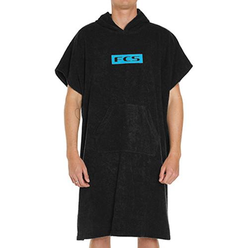 FCS Men's Hooded Towel Poncho | Black | Surf Beach Towel Hoodie | New Season Release