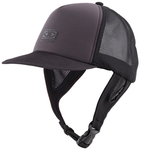 Kuta Surf Cap | Black | Surfing Hat With Adjustable Chin Strap | One Size Fits Most