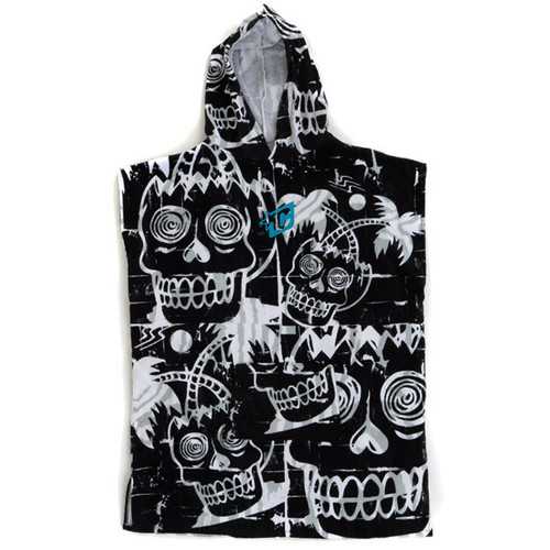 Youth Hooded Towel Poncho | Black/ White | Groms | Kids | Creatures of Leisure