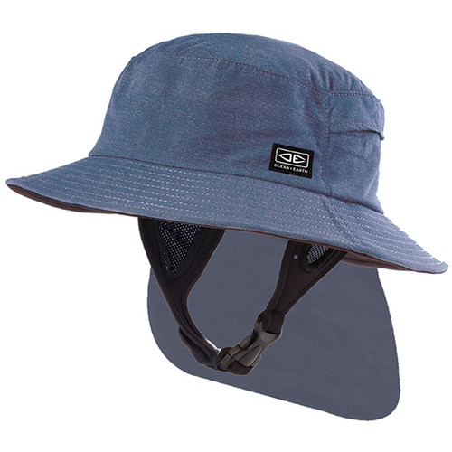 Men's Indo Stiff Peak Surf Hat   Blue   Sun Protection For Surfing   Ocean and Earth