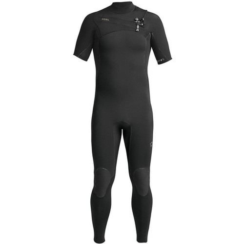 XCEL Comp X Short Sleeve Surfing Wetsuit 2mm   Chest Zip   Black