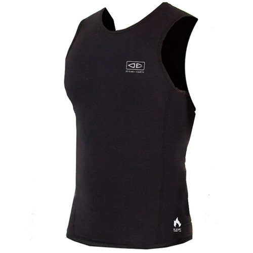 Ocean and Earth Flame Thermo Vest. A black sleeveless top with white ocean and earth logo on the centre front. This is a vest you can wear under a wetsuit