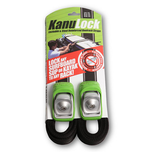 Kanulock Key Lockable Tie Downs 2.5m | Black/Green | Easily Lock Surfboards To Your Roof racks
