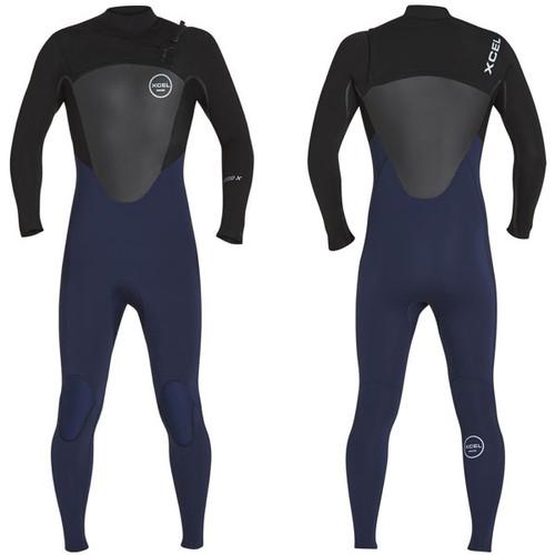 Axis X Steamer 3:2mm | X2 Chest Zip | Black / Blue Ink | Xcel Wetsuit Surfing