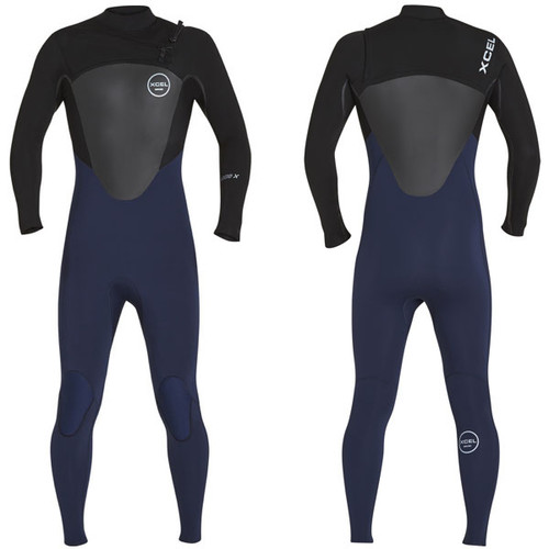 Axis X Steamer 3:2mm | X2 Chest Zip | Black / Blue Ink | Xcel Wetsuit Surfing