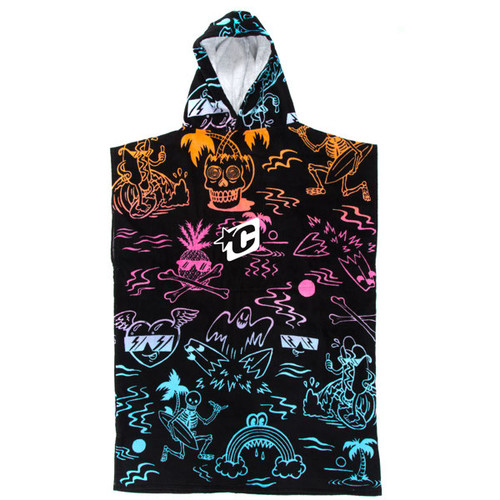 Youth Hooded Towel Poncho | Black Artwork | Groms | Kids