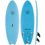 Gnaraloo Flounder Pounder Surfboard Colour Blue. Picture of Deck, bottom and side profile