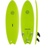 Gnaraloo Flounder Pounder Surfboard Colour Lime. Picture of Deck, bottom and side profile