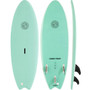 Gnaraloo Flounder Pounder Surfboard Colour Turquoise. Picture of Deck, bottom and side profile