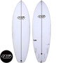 Haydenshapes Loot Surfboard with PE construction, white surfboard showing the deck and bottom, with HS logo both on the board and in the bottom left corner of picture. Buy this board online at www.surfshopsaustralia.com.au