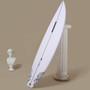 www.surfshopsaustralia.com Haydenshapes Cohort I. Lifestyle shot. Beige background. White surfboard. Bust sculpture in the left.
