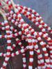 Red & White Ghana Glass Beads - 6 Strands (4x3mm)