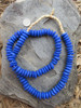 Blue Ashanti Ghana Glass Disk Beads (13x5mm)