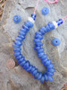 Large Blue Ghana Glass Disk Beads (15x6-7mm)